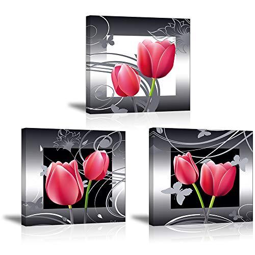 Piy Painting Wandbilder 3 Panel Rote Elegante Tulpen Bilder und Kunstdrucke auf Leinwand wasserdichte Leinwandbild Blumen Ölgemälde Deko für Wohnzimmer Schlafimmer Küche Geburtstagsgeschenk 30x30cm