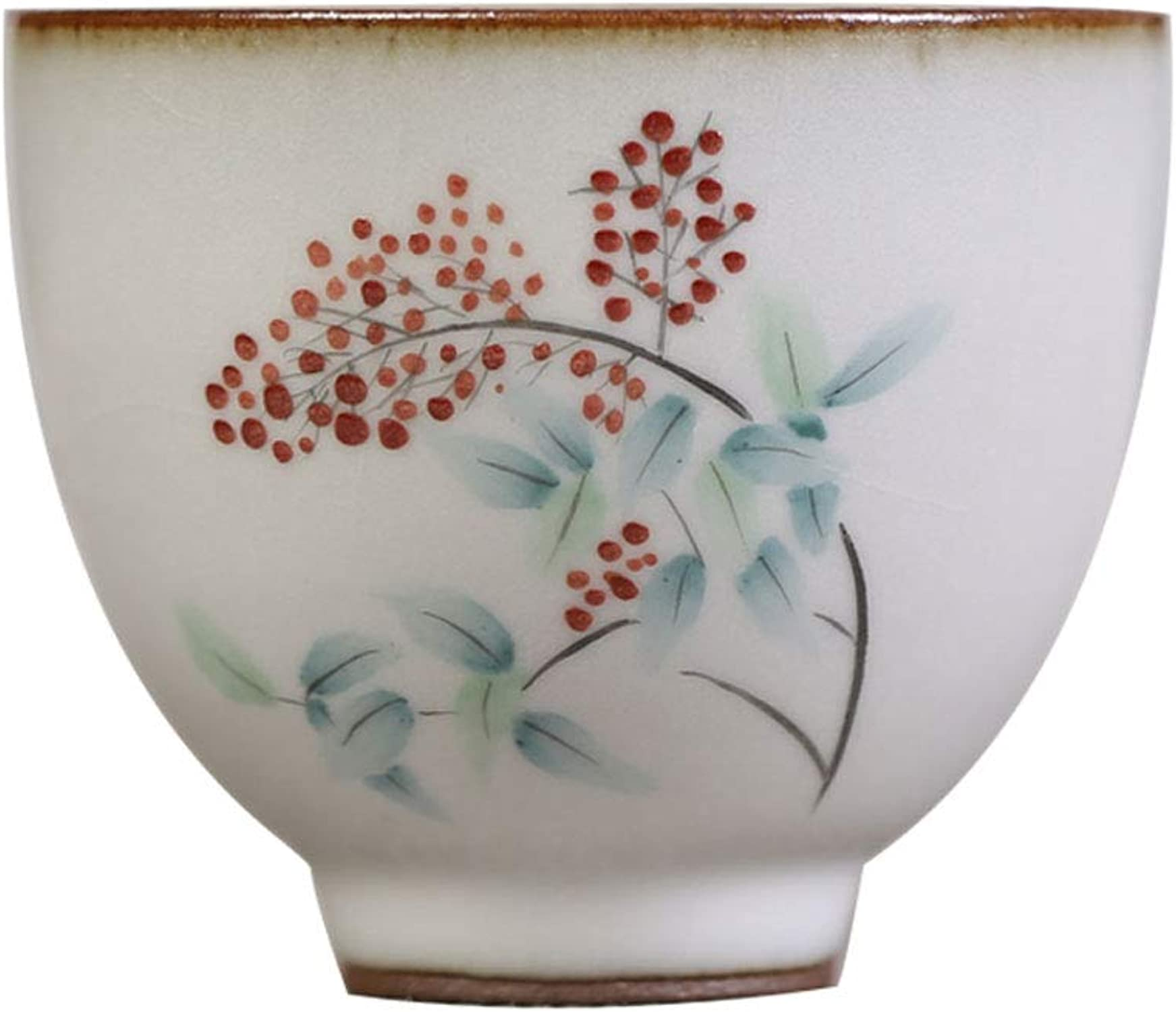 Tasse à thé de fruits de la montagne peinte à la main au four de ru