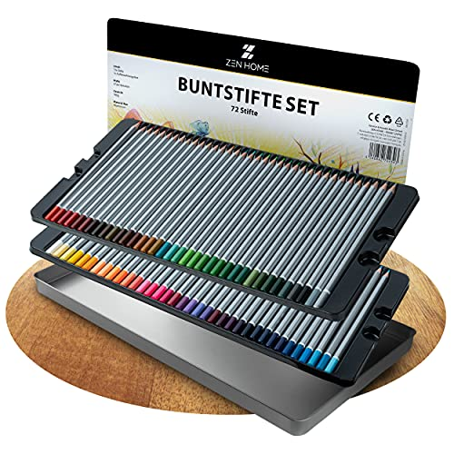 ZEN HOME - SMART LIVING | Profi Buntstifte Set – 72 Malstifte mit hoher Bruchfestigkeit – Buntstifte für Erwachsene Künstler Kinder + Farblegende & Blechdose