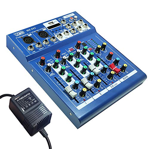 Vidpro MX-042 Professional 4 Channel / 2 Bus Audio Mixer with Bluetooth Connectivity. For singers, musicians, DJs, podcasters and recording artists