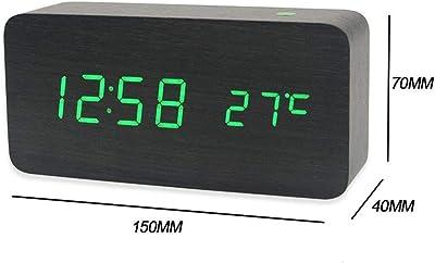 Yunfeng Reloj Alarma de Madera Mute Activado por Voz llevó Calendario Vida cabecera albergue con Reloj
