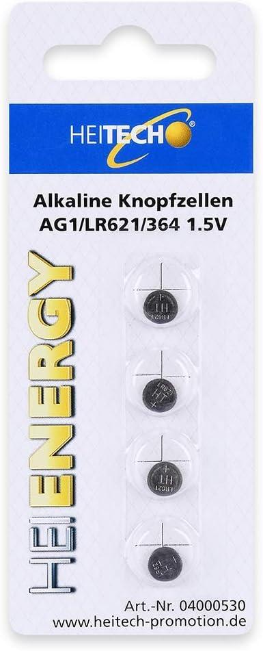 Heitech 4er Pack Ag1 Alkaline Knopfzellen Batterie 1 5v Elektronik