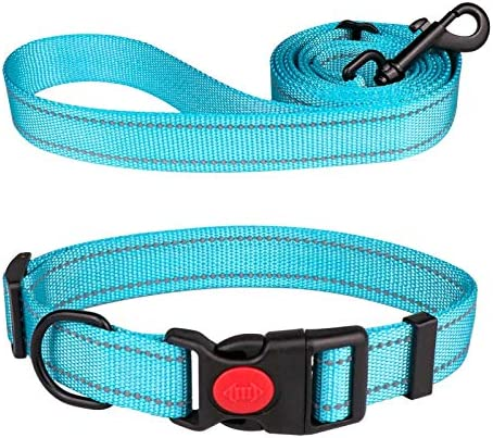 Reflective Dog Collar and Leash Set with Safety Locking Buckle Nylon Pet Collars Adjustable product image