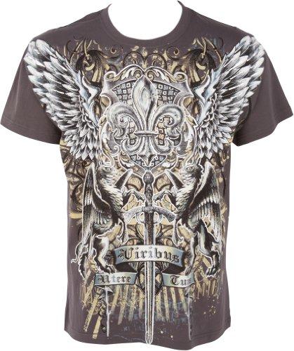 Sakkas GriffinSword035 Epée et Griffon en Relief Argent métallique Manches Courtes Col Rond Coton T-Shirt Fashion Homme - Charcoal/Small