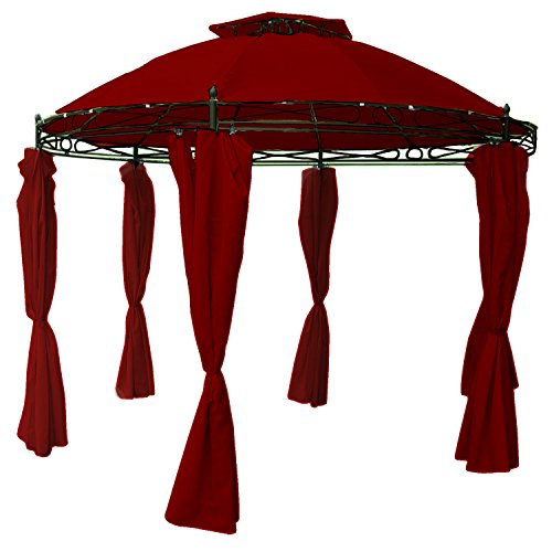 Mojawo Hochwertiger Gartenpavillon Eventpavillon Sonnenschutz Festzelt Zelt Pavillon wasserdicht rund Ø 350cm rot inkl. Seitenteile