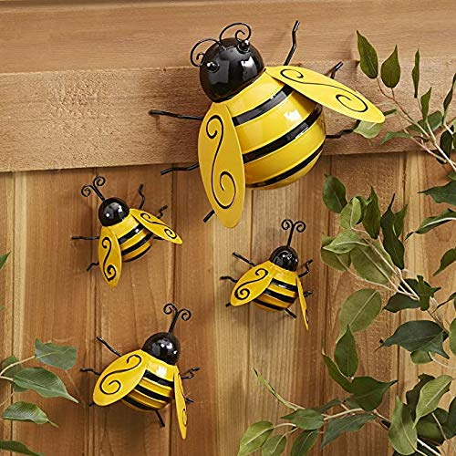 Metal Wall Art Bee Decor World Bee Day Figurine Spring Indoor Outdoor 3D Sculpture Ornaments Bumble Hanging Statue Decorations for Home Garden Fence Yard Lawn Bar Bedroom Living Room (S)