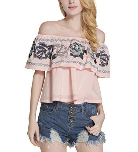 Fanmay Elegante blusa de mujer con cuello de palabras, sin tirantes, encaje bordado, camisa de manga corta Rosa. S