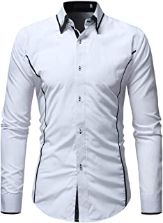 WUAI-Men Formal Business Slim Fit Dress Shirt Cotton Long Sleeve Button Down Dress Shirt