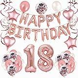 18 Cumpleaños Decoración Oro Rosa, 64 Piezas Set de Fiesta de...