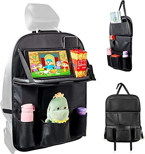 Car Backseat Organizer with Tablet Holder,2 Hooks,9 Storage Pockets PU Leather Car Storage Organizer...