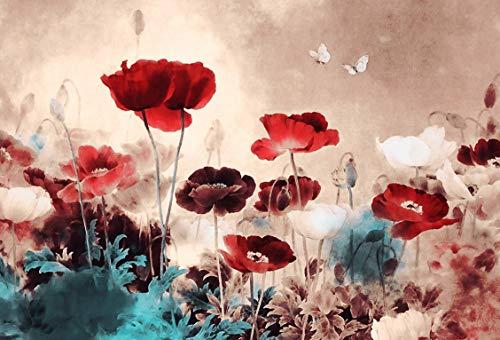Grande quadro floreale dipinto su tela, stile grunge, montato e pronto da appendere, 76,2 x 50,8 cm