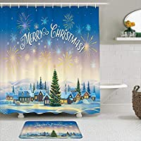MIMUTI シャワーカーテン バスマット 2点セット メリークリスマス漫画冬の町の雪景色家族の集まりパーティー 自家 寮用 ホテル 間仕切り 浴室 バスルーム 風呂カーテン 足ふきマット 遮光 防水 おしゃれ 12個リング付き