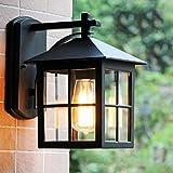 Außenwandlampe Terrassen Schwarz Vintage Wasserdichte IP23 E27 Außenlampe Rustikal Wandleuchte Retro Antik Gartenlampe Aluminum für Eingang Hof Fassaden Veranda Park Villa Gemeinschaft