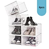 Amzdeal Storage Shoe Box - Foldable Clear Plastic Sneaker Display Box, Stackable Storage Bins Shoe Container Organizer, with Front Entry and Sturdy Frame, for Kids, Men & Women, X Large 6 Pack