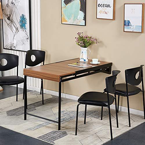 QFF@ Mesa de trabajo multifuncional 2 en 1 de madera maciza con marco de metal, para espacios pequenos, ideal como complemento perfecto, Color nogal., 120*60*75cm