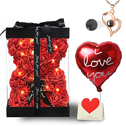 Rose Bear Birthday Gifts for Women Mom Her Girlfriend, Fully-Assembled...