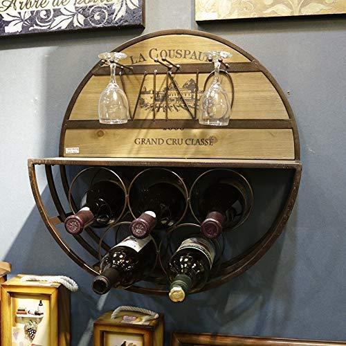 Equipo Bodega Botellero Redondo para Colgar En La Pared 50x54x15cm Adornos Decorados Ponga 5 Botellas De Vino Tinto Colgando 3 Copas Porta Vino De Bambú