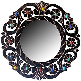 Classic Shoppe Wooden Wall Hanging Mirror -Black Circular Mirror