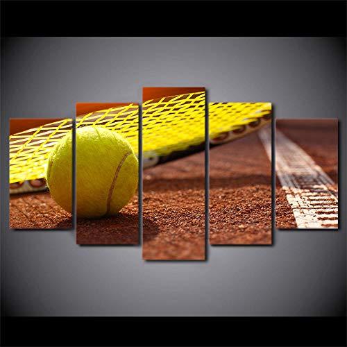 SESHA Arte De Pared Pintura En Lienzo 5 Piezas HD Impresión Carteles E Impresiones De Raqueta De Tenis Deporte Lienzo Arte Decoración del Hogar(Enmarcado)