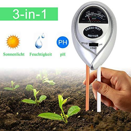 WeyTy Bodentester, Feuchtigkeitsmesser Pflanzen, 3-in-1 pH Bodentest, Blumentopf GießAnzeiger Feuchtigkeit/Sonnenlicht/Ph Meter Messgerät für Erde Garten Bauernhof Rasen, Keine Batterien Erforderlich