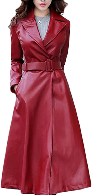 Alion Women Fashion Lapel with Belt Solid color Slim Fit PU Leather Long Coat