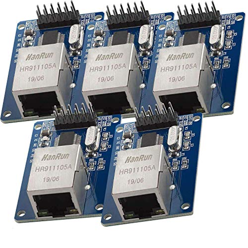 AZDelivery 5 x ENC28J60 Ethernet Shield LAN Network Module for Arduino including eBook