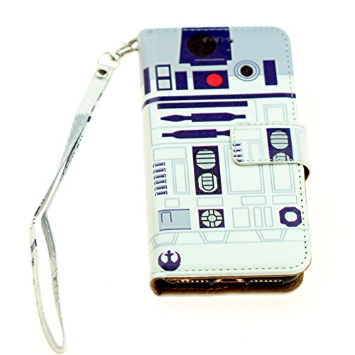 Star Wars iPhone 8 Wallet Case, IMAGITOUCH Folio Flip PU Leather Wallet Case with Kickstand Wrist Strap and Card Slots for iPhone 8- Slim Book Star Wars R2D2 Wallet