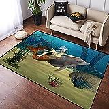Tapis Chambre Mermaid Fairy Marine Cute Mermaid Girl Dolphin Fish Nager sous l'eau dans l'océan Bleu Antidérapant Tapis de Salon Moelleux Tapis De Sol Grand Tapis de Plancher Couloir Canapé 100x120cm