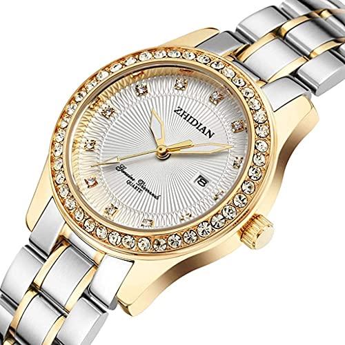 WYZQ Reloj de Moda de Negocios Reloj de Cuarzo Impermeable Luminoso para Mujer Reloj de Diamantes de imitación para Mujer Cinturón de Acero (Color: D) (Color: B), Relojes