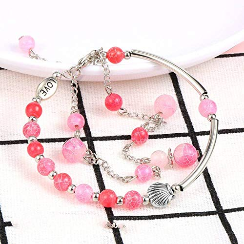 Stone Bracelet,Vintage Boho Unisex 7 Chakra Natural Beads Adjustable Bangle Pink Dragon Pattern Agate Stone With Double Layers Silver Shell Bracelets Birthday Party For Women Men Friend Gift