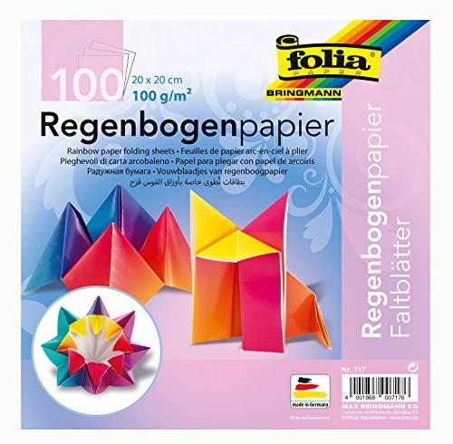 folia 717 - Faltblätter aus Regenbogenpapier, ca. 20 x 20 cm, 100 g/qm, 100 Blatt, farbig sortiert - ideal für Faltfiguren und andere kreative Bastelideen