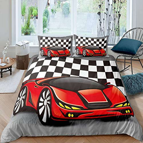 Erosebridal Racing Car Comforter Cover Cool Speed Race Car Duvet Cover for Kids Boys Teens Automobile Pattern Bedding Set Full Size Grid Extreme Sport Quilt Cover with Zipper Closure Bed Décor