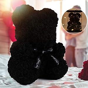 rose teddy bear, rose bear teddy bear,10″ flower bears with lights,rose bear artificial flower,lighted up rose teddy bear gift for valentines day, mothers day,anniversary,halloween decoration(a-black) silk flower arrangements