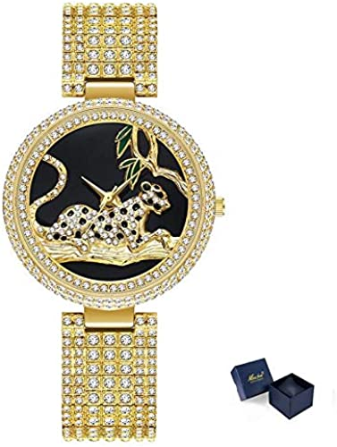 PLKNVT Nouveau Haute Qualité MesLes dames Designer Montre Haute Qualité Femmes Léopard Argent Montres Full Crystal Diamond regarder Top Marque Femme Horloge Heures