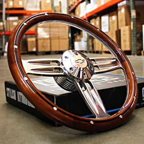 "14"" Inch Polished & Wood Steering Wheel Chevy Bowtie Horn, 6 Hole C10 Camaro"""