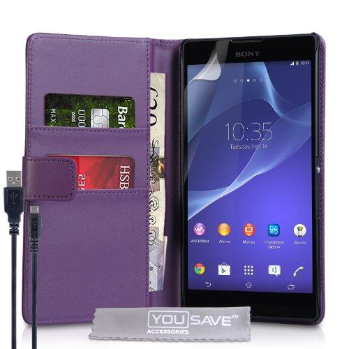 Yousave Accessories® Kompatibel Für Sony Xperia T2 Ultra Tasche Violett PU Leder Brieftasche Hülle Und USB-Kabel