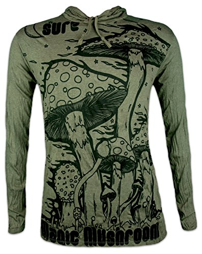 Sure Clothing Herren Longsleeve T-Shirt - Magic Mushrooms Größe M L XL Psychedelische Zauber-Pilze Goa-Party PSY-Trance (Olive Grün L)
