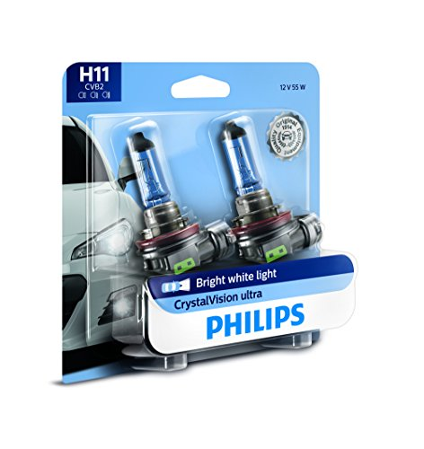 Philips 12362CVB2 H11 CrystalVision Ultra Upgraded Bright White Headlight Bulb, 2 Pack