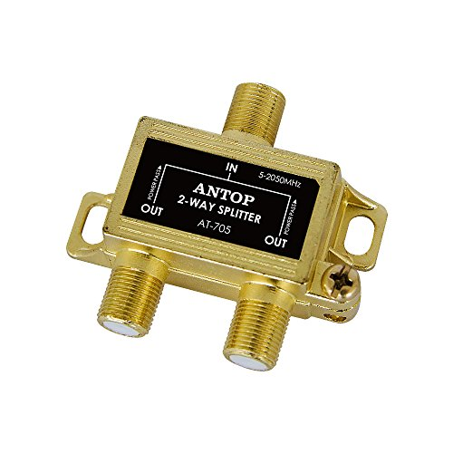ANTOP 2-Way Signal Splitter for TV and Satellite, 18K Gold-Plated Chassis, Low-Loss, All Port DC Power Passing