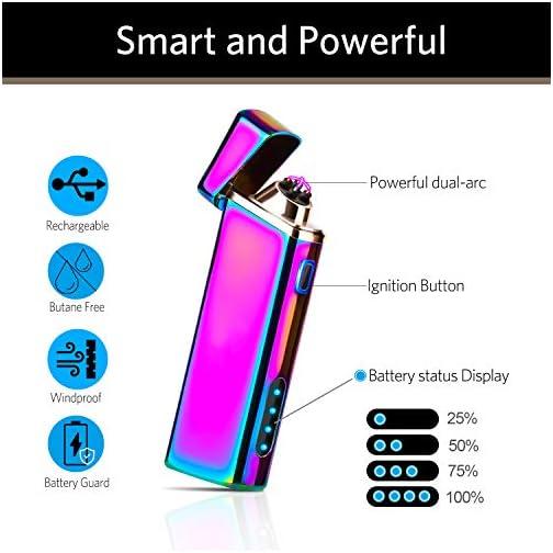 Lighter, Electric Arc Lighter Windproof Lighter Plasma Lighter - USB Rechargeable, Upgraded Battery Indicator… 4