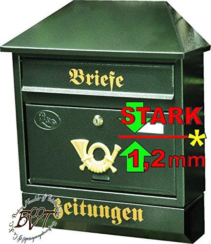 BTV Großer Briefkasten XXL, verzinkt mit Rostschutz Walmdach W/gr grün dunkelgrün moosgrün Zeitungsfach Zeitungsrolle Postkasten NEU