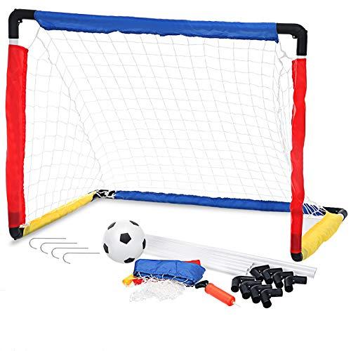 Pickwoo Fußballtor Set für Kinder Fußballtore mit Fußball,Tore und Pumpe1 Tor,Fussball Interaktiv Spielzeug Sportspaß Selbstaufstellende für Garten Indoor 83.5*60*60cm