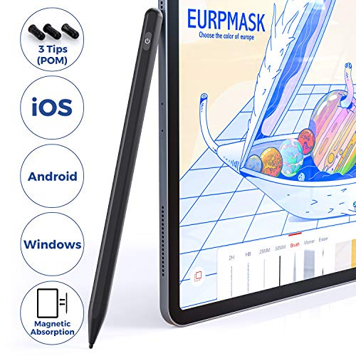 Stylus Pens for Touch Screens, EURPMASK Fine Point Stylist Pen Compatible for iPhone iPad Pro and Other Capacitive Screen Devices, Active Stylus Pen for Drawing and Handwriting (iOS/Android/Windows)