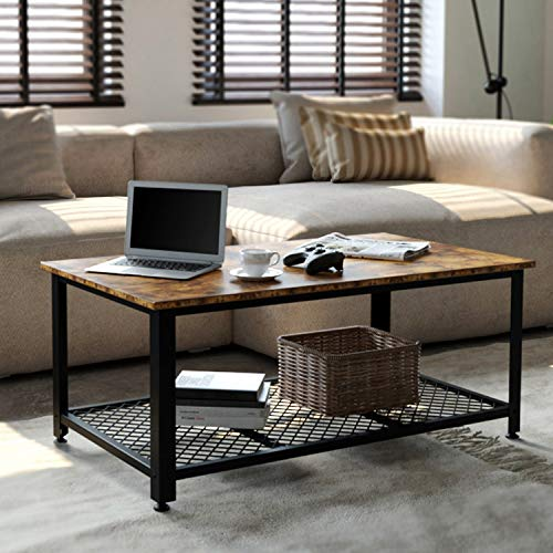 IRONCK Industrial Coffee Table for Living Room, Tea Table with Storage Shelf, Wood Look Accent...