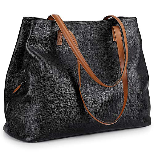 S-ZONE Women Soft Genuine Leather Handbag Large Capacity Shoulder Hobo Bag Fit for 13'' Laptop