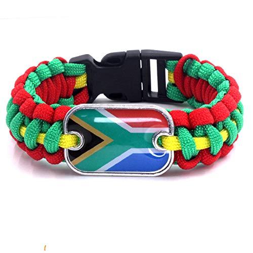 YUANOMSL Regenschirm Armband,Rechteckige Südafrika Flagge Kunst Outdoor Lebensrettende Fallschirm Camping Armband Armband Unisex Europa Und Amerika Geschenk Armband Persönliches Handgelenk