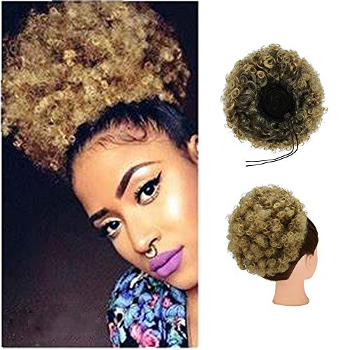 SLTY Afro Puff Drawstring Ponytail Bun Extension Short Kinky Curly Afro Bun Synthetic Hairpieces Hair Bun Ponytail for Women with 2 Clips, Full Circle Large Ring Ear Ring Gift