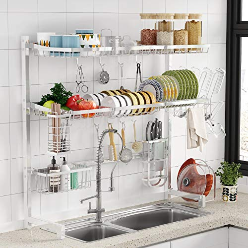 Over the Sink Dish Drying Rack -1Easylife 3 Tier Stainless Steel Large Kitchen Rack Dish Drainers for Home Kitchen Counter Storage Shelf with Utensil Holder Above Sink Non-Slip Shelves Organizer
