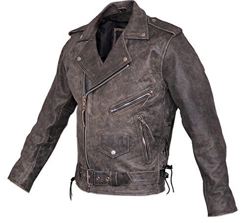Stonewash Brando Leder Biker Jacke - Brando Style Motorrad Jacken