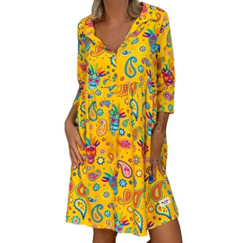 Big Save! Women's Plus Size V-neck Print Dress, Casual Loose Long Sleeve Bohemian Floral Sundress Pa...